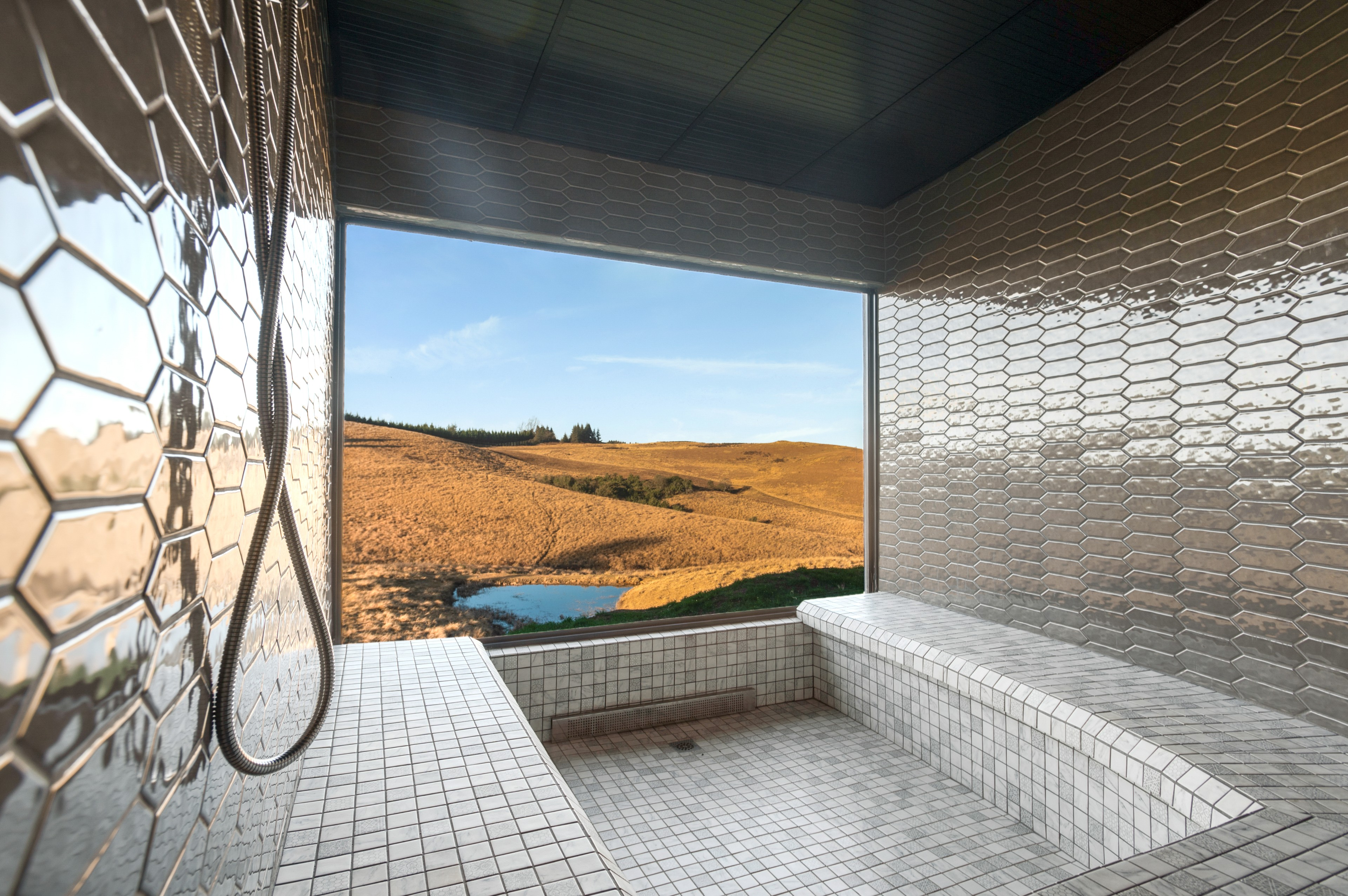 The beautiful Brahman Hills steam room with picturesque panorama