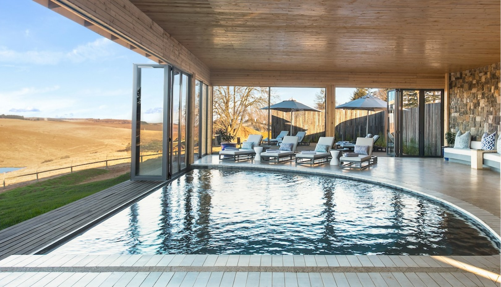 A luxury heated indoor swimming pool? Ooo, yes, that'll do nicely.