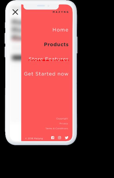 Mazyng red navigation menu displayed on a mobile phone