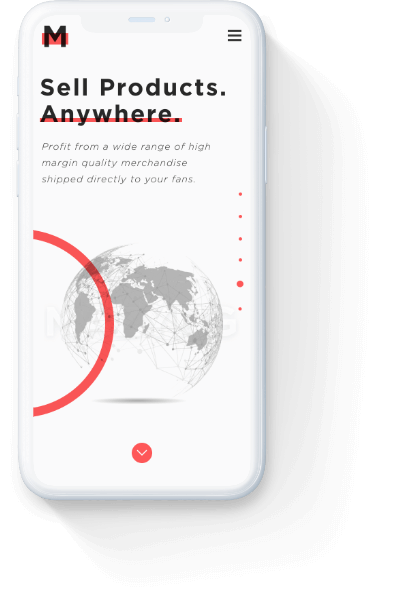 Mazyng 'sell products anywhere' page on a mobile phone