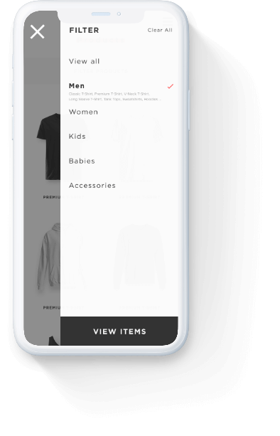 Mazyng product filtering navigation on a mobile phone