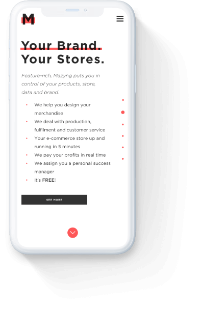 Mazyng 'your brand your stores' home page on a mobile phone