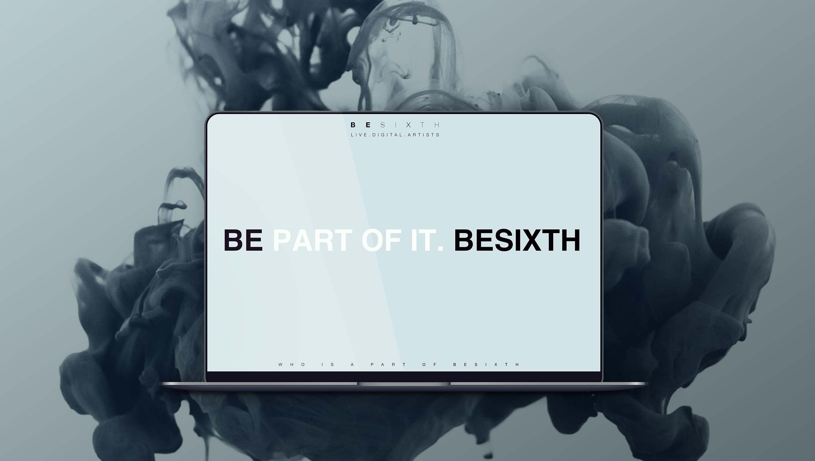 Besixth landing page displayed on a mac-book pro with black smoke behind