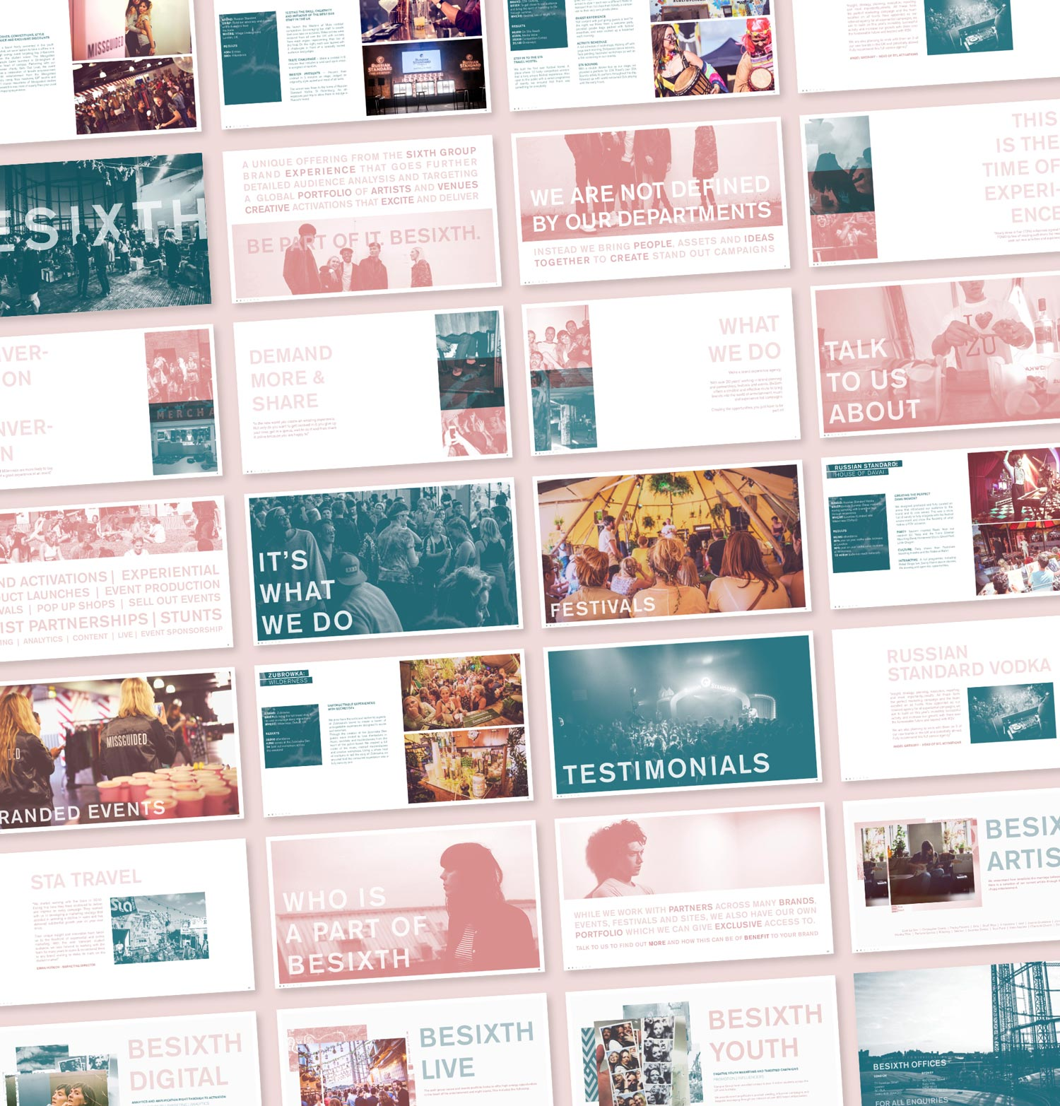 Besixth presentation slides. Company credentials on pink background.