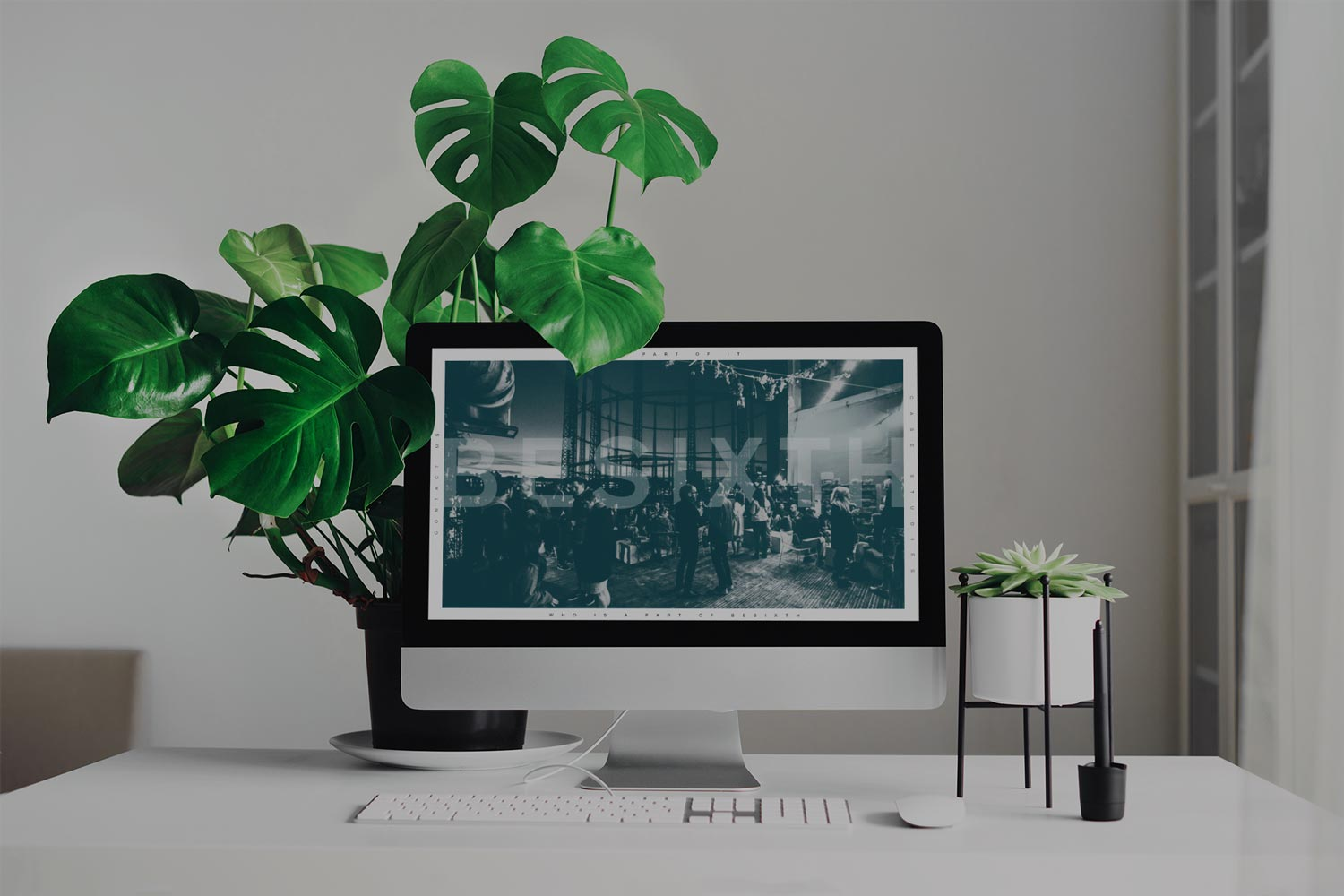 Besixth landing page displayed on a desktop computer at a desk with plants