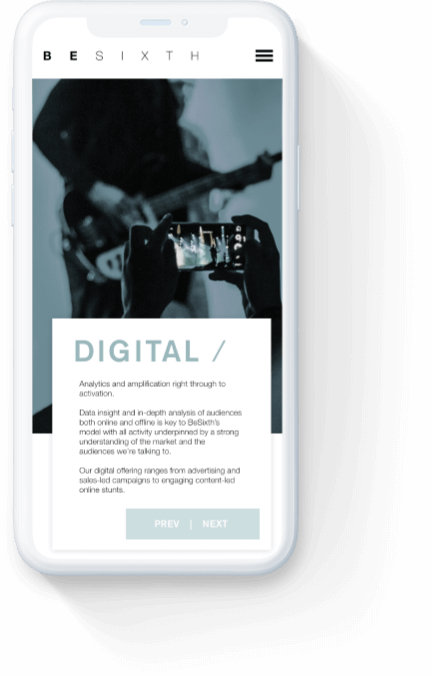 Besixth's 'digital' webpage displayed on a white iPhone.