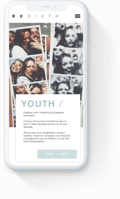 Besixth's 'youth services' webpage displayed on a white iPhone.