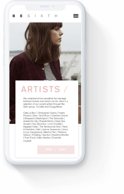 Besixth's 'artist services' webpage displayed on a white iPhone.