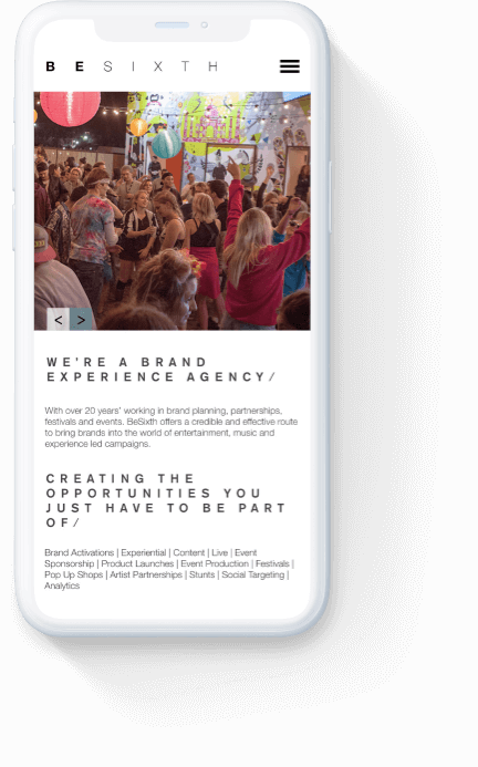 Besixth's 'who we are' webpage displayed on a white iPhone.