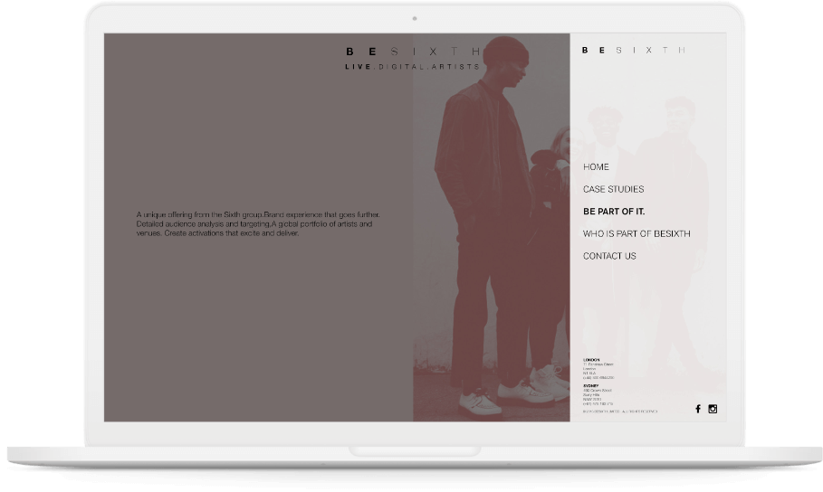 Besixth's website navigation displayed on a white macbook.
