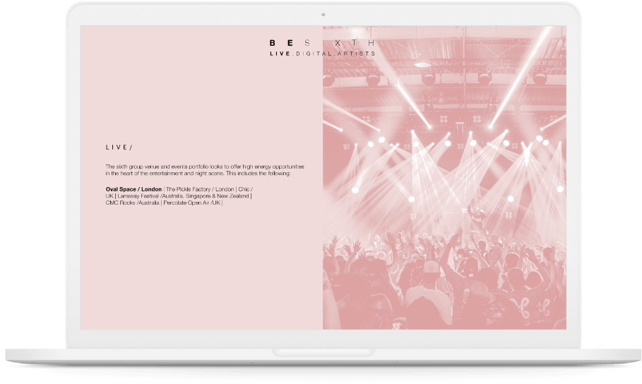 Besixth 'who is part of besixth?' page displayed on white laptop