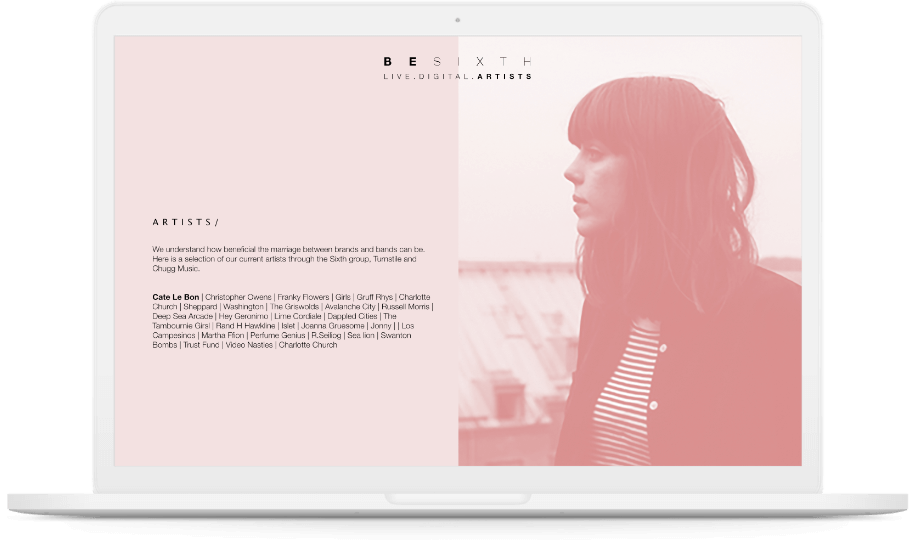 Besixth 'Artists' page displayed on white laptop