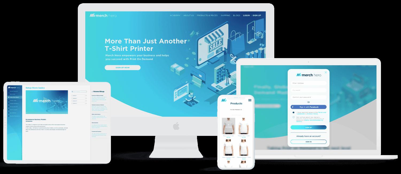 Merch Hero website displayed on white desktop, mac-book Pro, iPad and iPhone