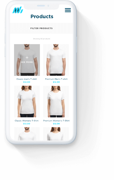 Merch Hero 'product' page displayed on white iPhone.