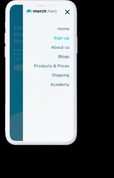 Merch Hero navigation menu displayed on white iPhone.