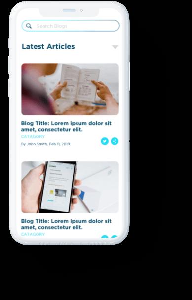 Merch Hero blog displayed on white iPhone.