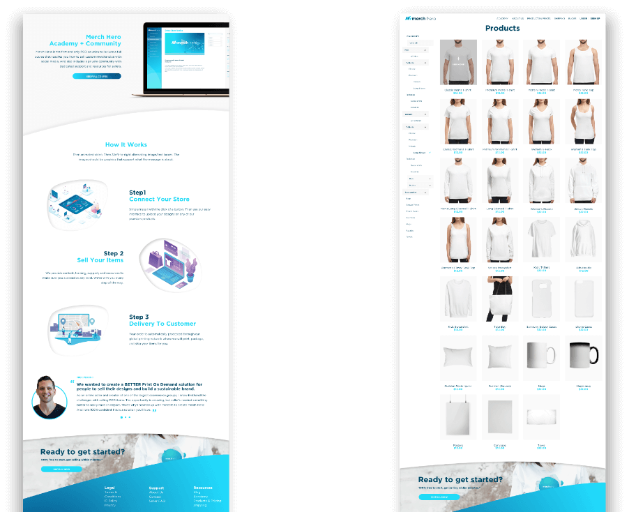 Merch Hero website designs