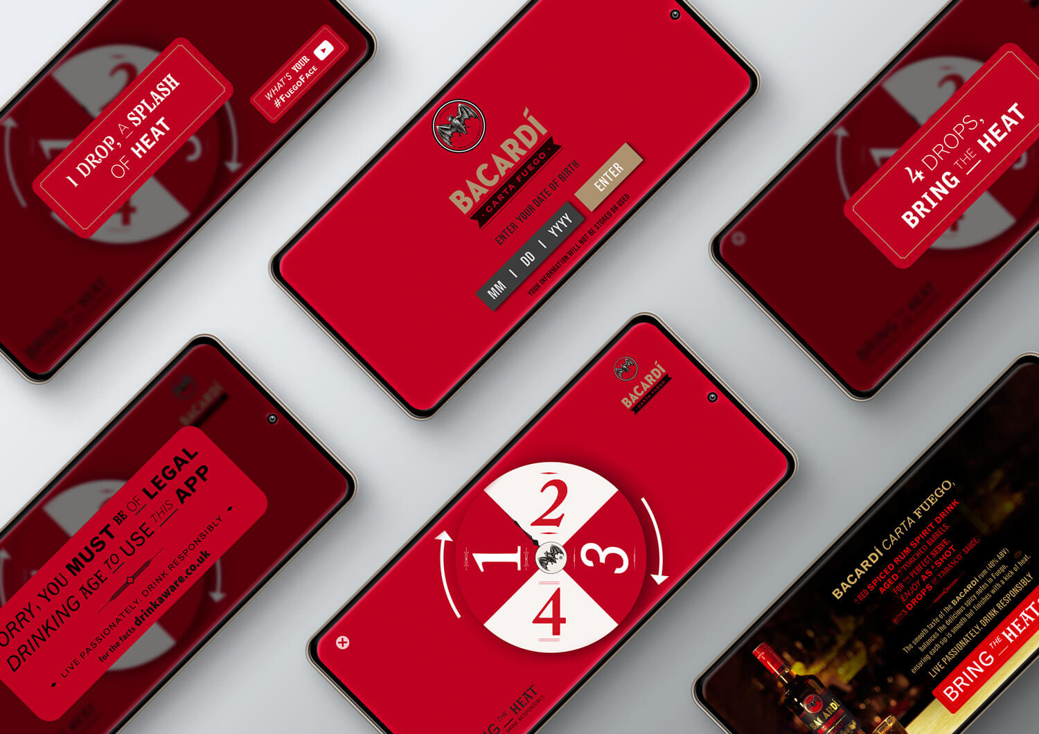 A collection of Black iPhones displaying the Bacardi 'bring the heat' app.