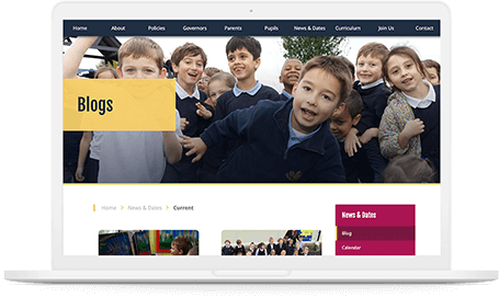 Danegrove primary school website 'FAQ's' page displayed on a white mac-book pro.
