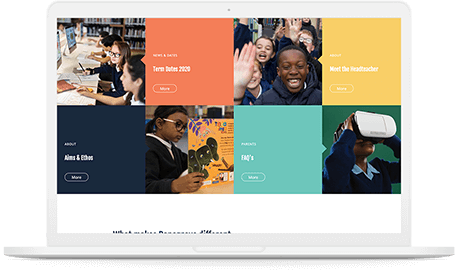 Danegrove primary school website Homepage grid displayed on a white mac-book pro.