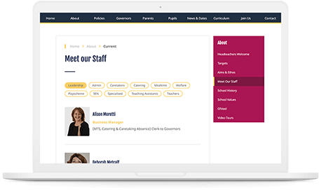 Danegrove primary school website 'Meet our Staff' page displayed on a white mac-book pro.