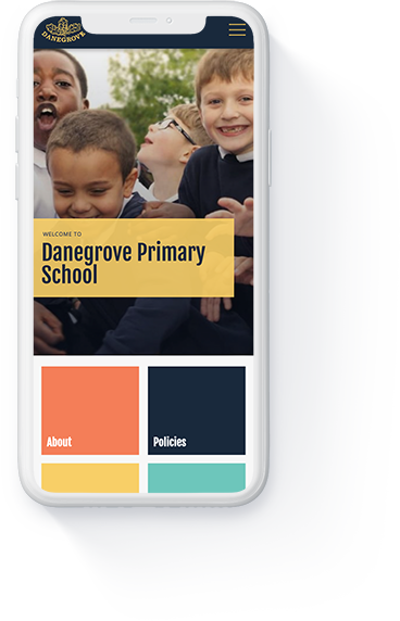Danegrove primary school website homepage displayed on a white iPhone