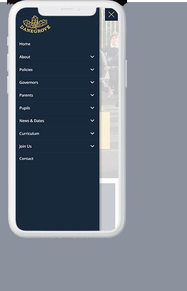Danegrove primary school website navigation menu UI displayed on a white iPhone