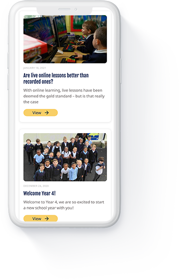 Danegrove primary school website 'Blog' page displayed on a white iPhone.