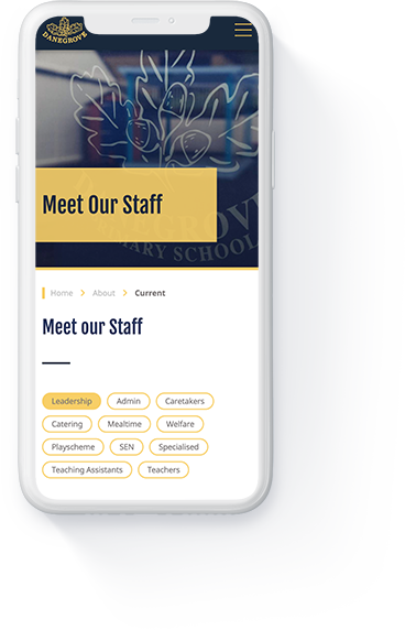 Danegrove primary school website 'meet our staff' page displayed on a white iPhone