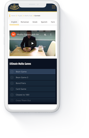 Danegrove primary school website 'Maths Hub' page displayed on a white iPhone.