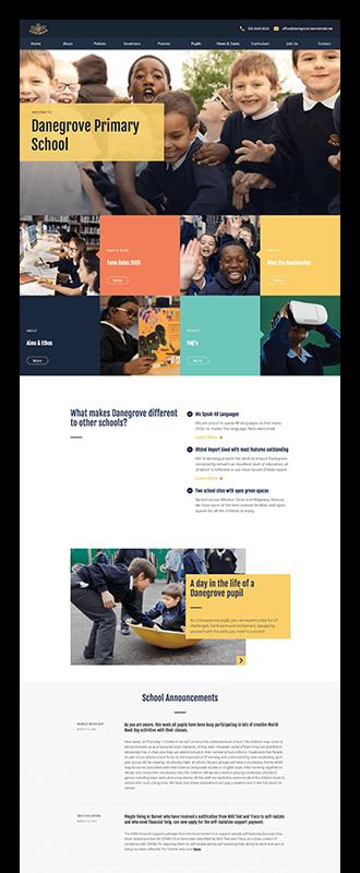 UI designs for Danegrove Primary School landing page