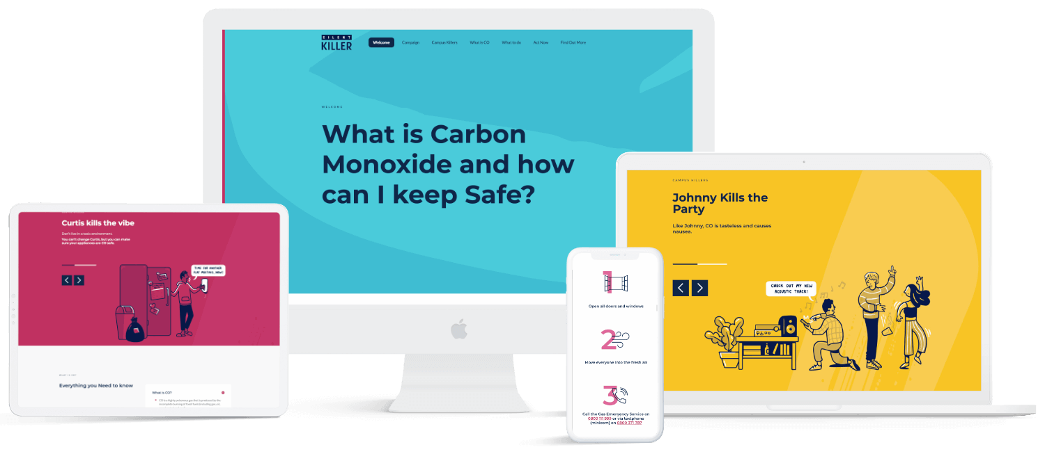 SGN silent killer carbon monoxide awareness landing page displayed on a white desktop, mac-book pro, iPad and iPhone.