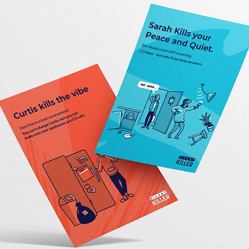Orange and blue SGN leaflets.