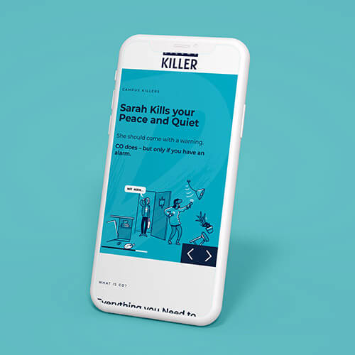 SGN silent killer carbon monoxide awareness campaign displayed on a white iPhone against a blue background.