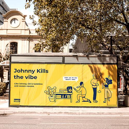 SGN silent killer carbon monoxide awareness campaign artwork displayed on bus shelter.