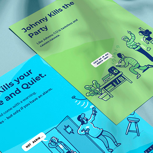 Blue and Green SGN silent killer carbon monoxide awareness campaign posters.