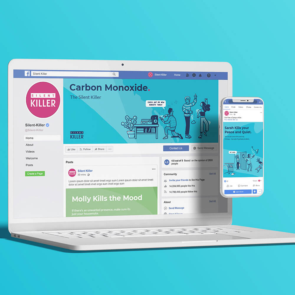 Facebook event group for the SGN silent killer carbon monoxide awareness campaign on white mac-book pro with iPhone.