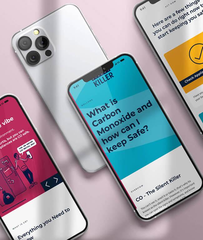 SGN carbon monoxide awareness website displayed on multiple phones.