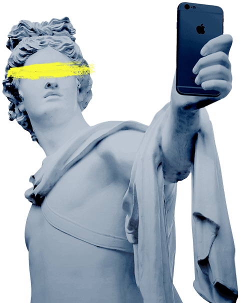 Image of a statue taking a selfie with an iPhone, and a yellow slash of paint covering the eyes.