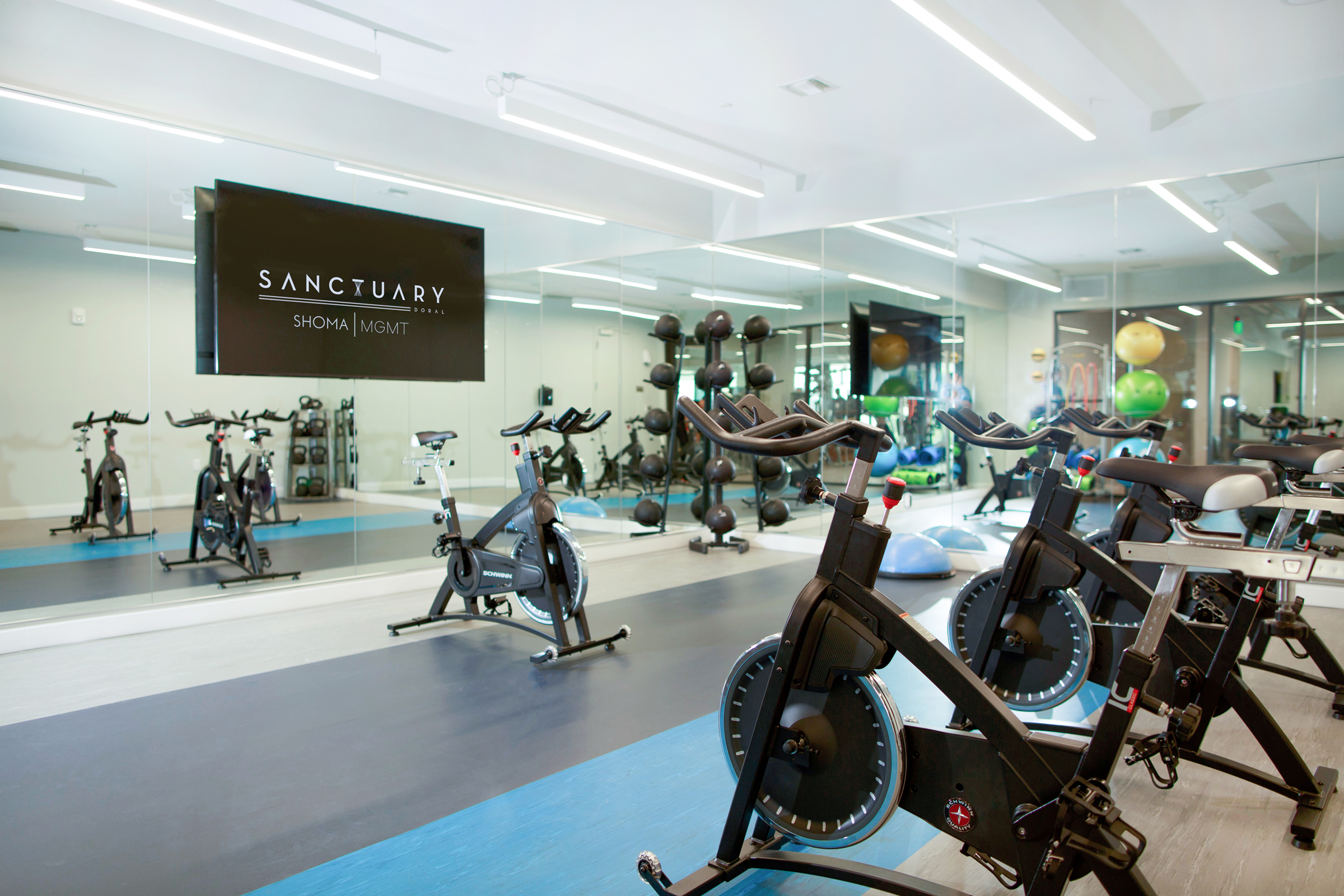 indoor cycling fitness center at sanctuary doral