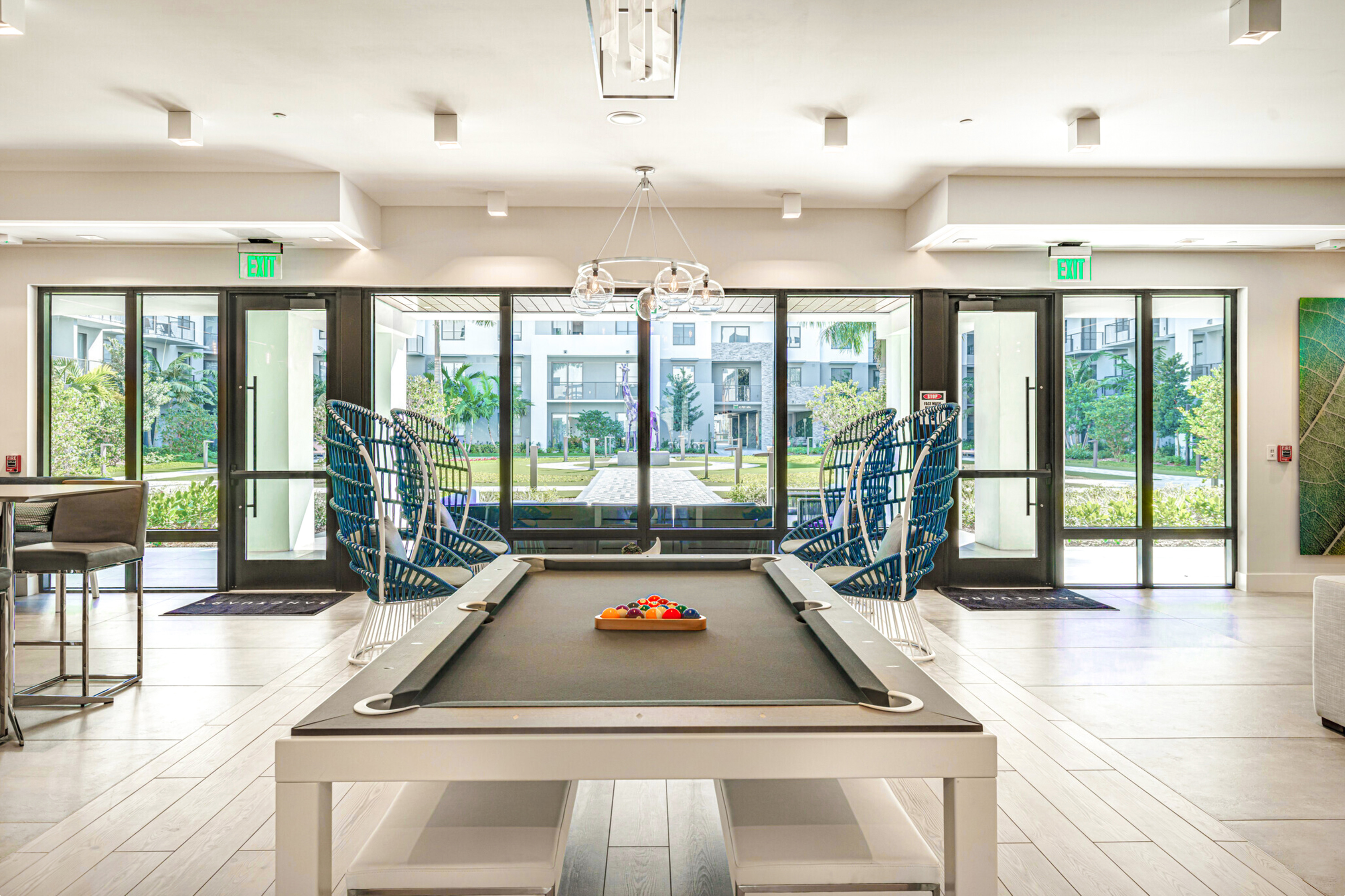 Pool table with courtyard view