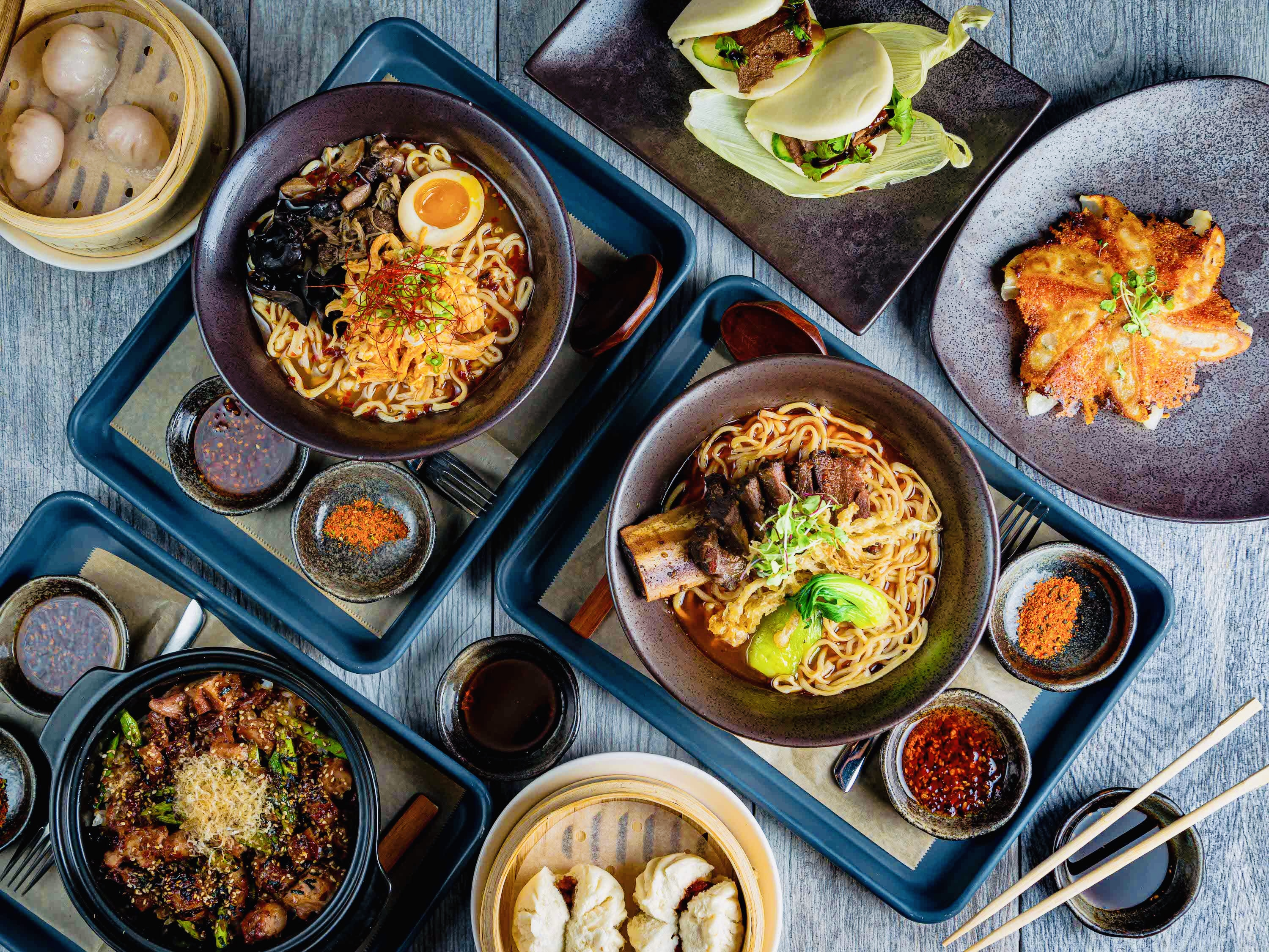 Upside view of In Ramen dishes