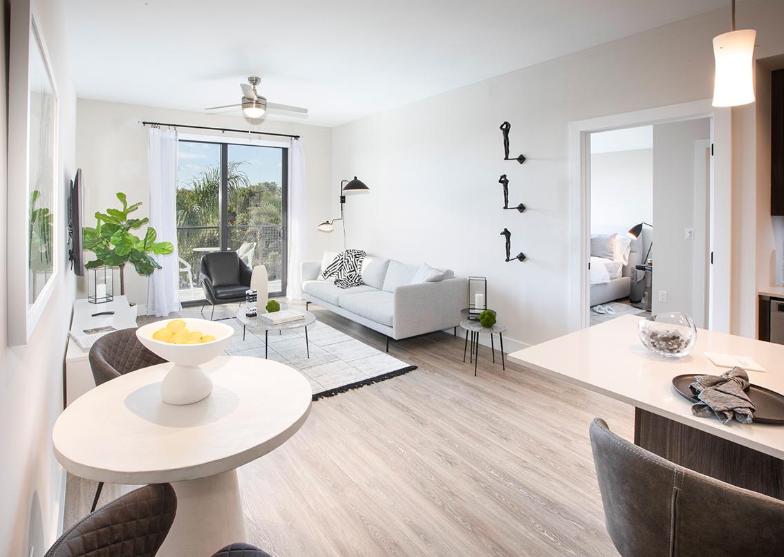 spacious living room kitchen island