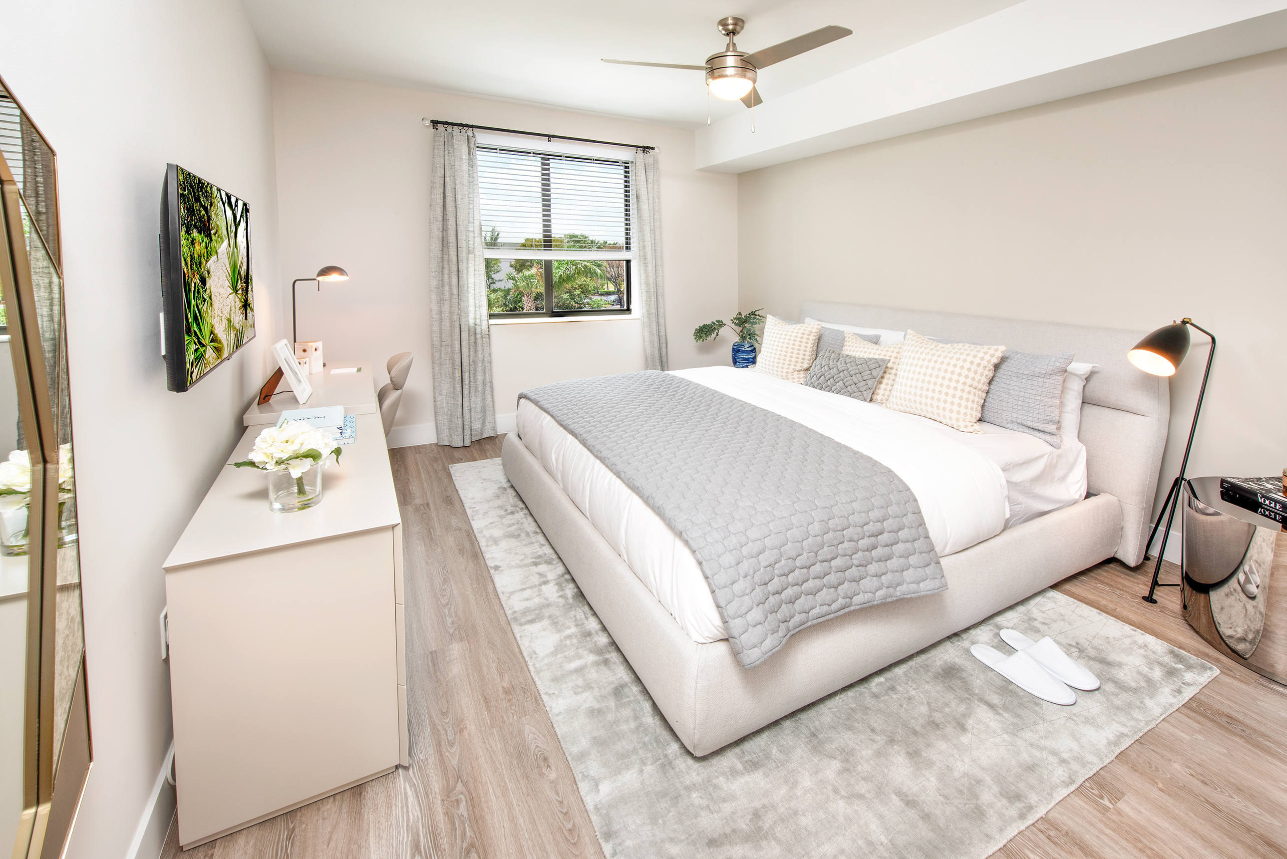 luxurious bedroom with gray blanket
