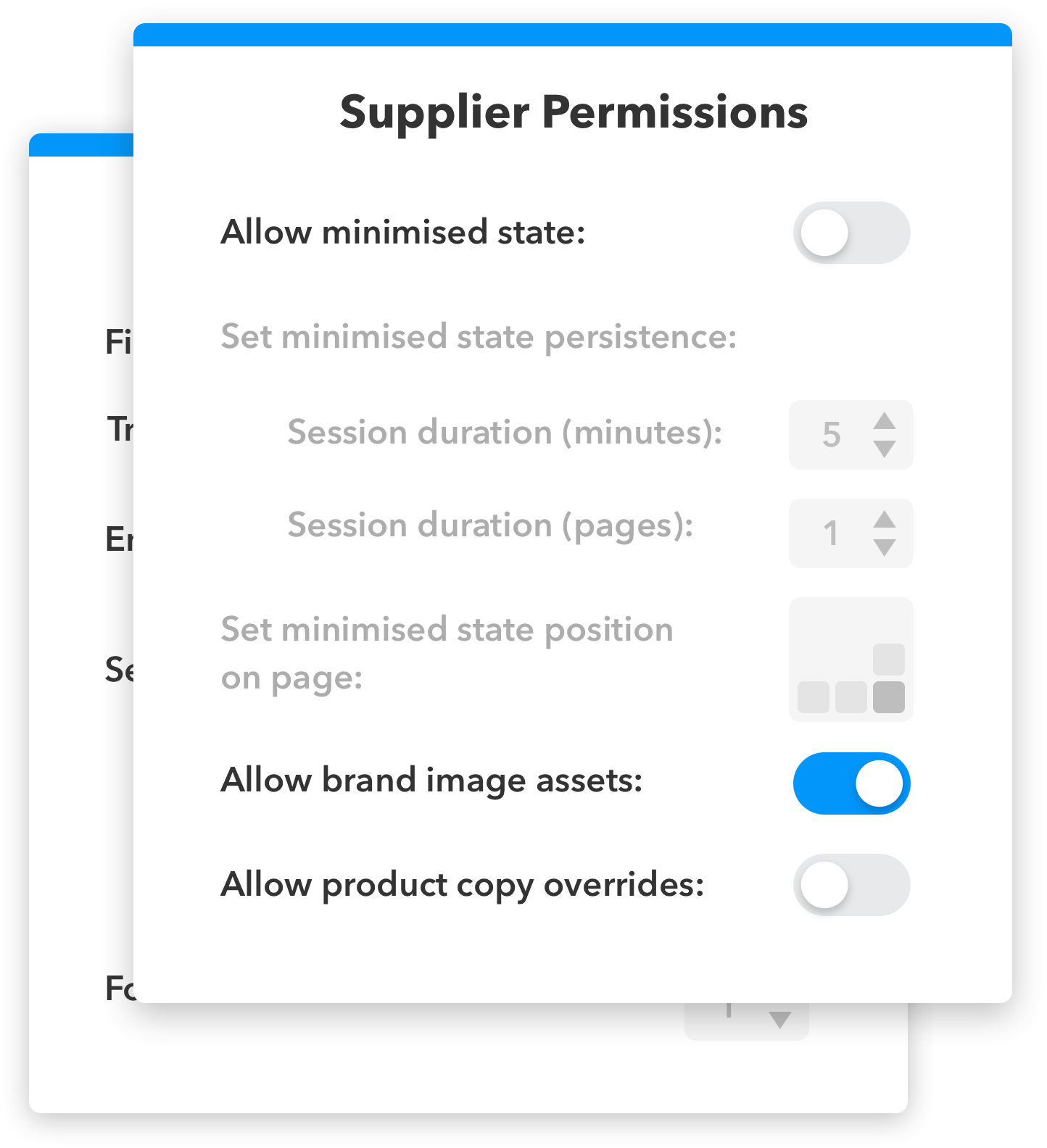 An example UI modal showing how retailers can control how Landing Spaces appear on their sites.