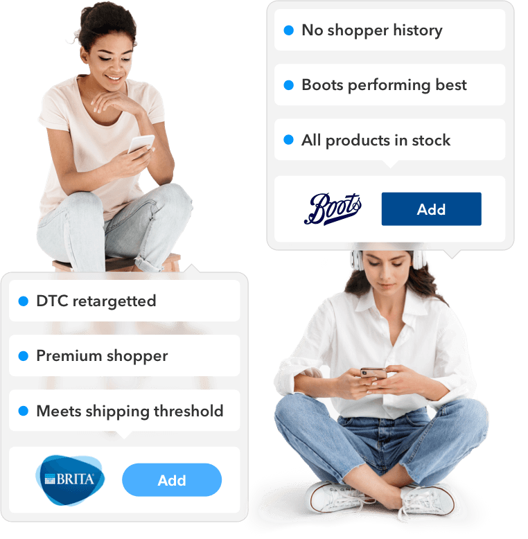 An image of two shoppers sitting next to each other, sent to different stores based on their preferences and other factors.