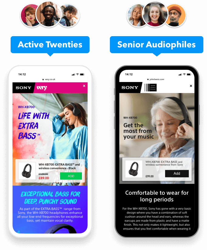 Two different Sony Landing Spaces  side-by-side on mobile devices – one for a younger market (with a matching look and feel), and the other a for a more mature market, with a more classic, elegant look.