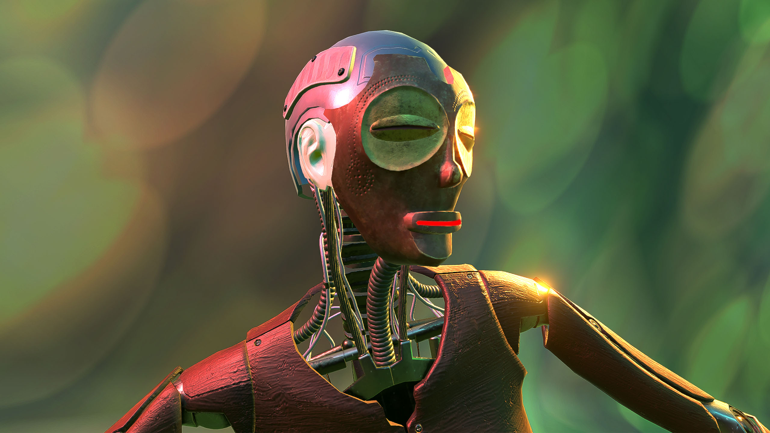 A rendering of a CGI robot, pictured from the shoulders up and looking off camera, stands against a blurry,green background. The facial features resemble a carved mask, with a stylized mouth and eyes, while the exposed neck reveals various wires and cables inside.