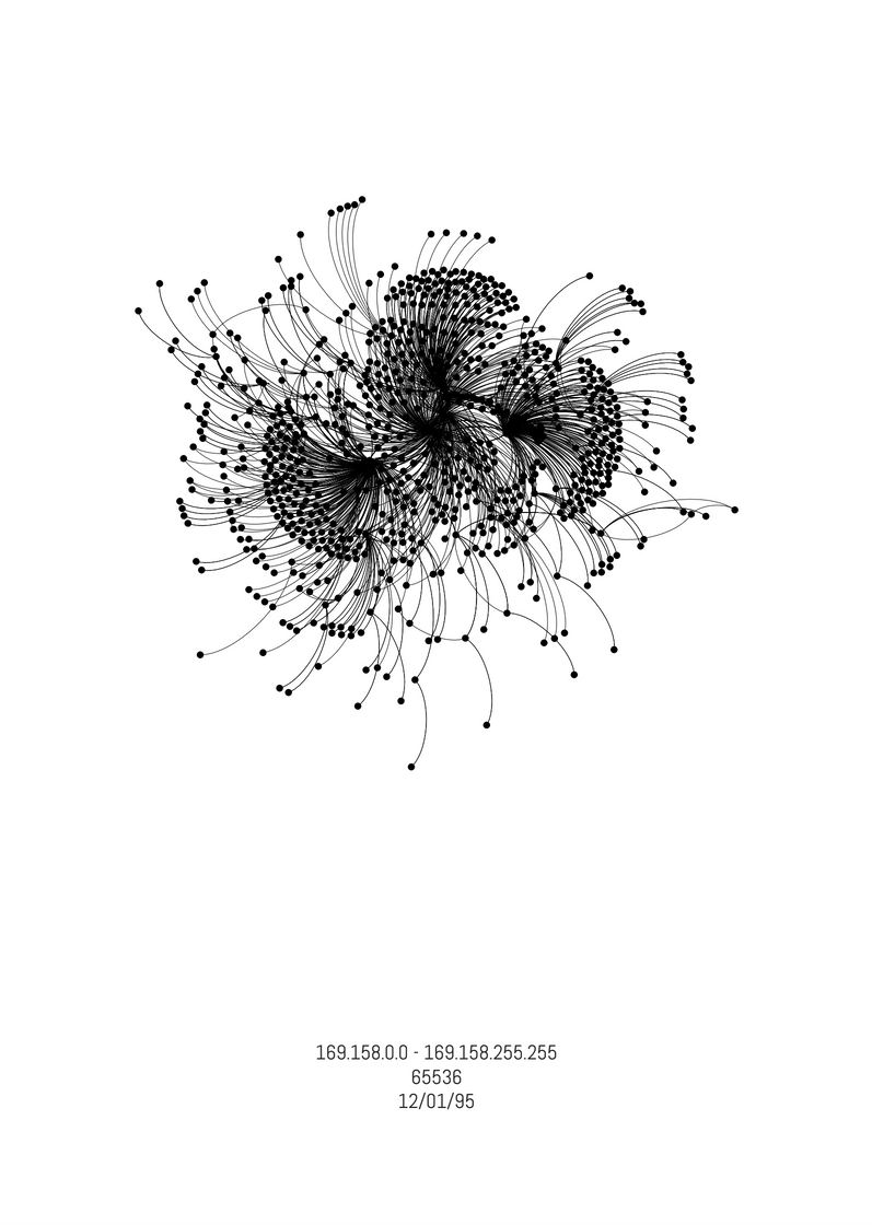 """A series of thin black arcs capped with black dots at each end radiate out, forming a flower-like image against a white background. At the bottom of the page, black text reads, """"169.158.0.0 - 169.158.255.255, 65536, 12/01/95."""""""