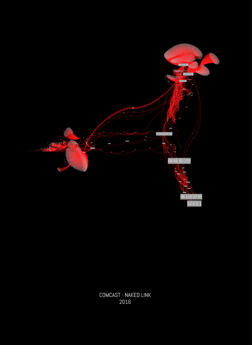 """A series of digitally rendered curved red lines connect, map-like, forming an organic triangle on a black background. In some areas, there are bundles of overlapping lines dense enough to make organic forms, appearing almost organ-like. At each connection point, there is a grey rectangle with white text holding a series of numbers, and at the bottom of the page are the words """"COMCAST - NAKED LINK, 2016"""" in white text."""